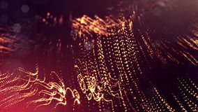 3d rendono di composizione rossa dorata astratta con profondità di campo e delle particelle d'ardore nello scuro con gli effetti  illustrazione di stock