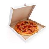3d rendono di pizza e della scatola deliziose royalty illustrazione gratis