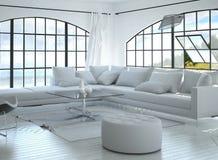 3D rendono di stanza con il perno della finestra incurvata Immagini Stock Libere da Diritti