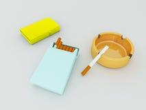 3D rendono di un pacchetto di sigarette blu, di un accendino dorato e di un portacenere arancio dei gass illustrazione di stock