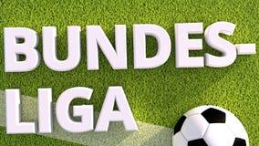 3d rendono di un pallone da calcio su erba bundesliga illustrazione vettoriale