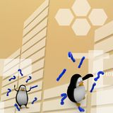 3d rendono di un pinguino circondato tramite l'illustrazione del punto interrogativo Immagini Stock
