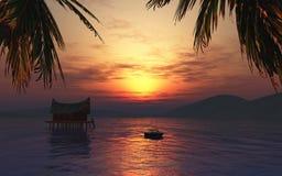 3D rendono di un prendere il sole femminile su una barca in un landsca tropicale illustrazione vettoriale