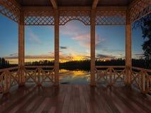 3d rendono di un terrazzo di legno con una vista del lago della foresta, l'istmo careliano, Russia Fotografia Stock Libera da Diritti