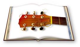 3D rendono di una chitarra acustica di legno su photobook aperto isolato su fondo bianco - sono il titolare dei diritti d'autore  immagini stock libere da diritti
