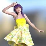 3D rendono di una posa della ragazza di Kawaii Fotografia Stock Libera da Diritti