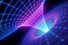 3d rendono, fondo scientifico astratto, griglia dell'imbuto, spettro ultravioletto, singolarità, gravità, materia, spazio, buco d royalty illustrazione gratis