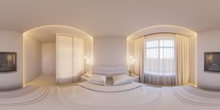 3d rendono i 360 gradi sferici, panorama senza cuciture di una camera da letto bianca Fotografie Stock Libere da Diritti