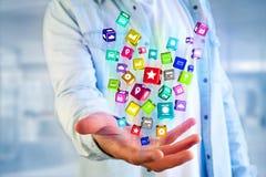 3D rendono il cubo dell'applicazione di Colorfull visualizzato su una i futuristica Immagini Stock
