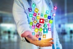 3D rendono il cubo dell'applicazione di Colorfull visualizzato su una i futuristica Fotografie Stock