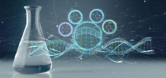 3d rendono il DNA isolato su un fondo medico Immagini Stock