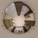 3d rendono il panorama 360 dell'interno del bagno Immagine Stock