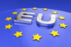 3d rendono - il testo dell'Eu del metallo Fotografie Stock Libere da Diritti