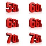 3D rendono il testo rosso 55,60,65,66,70,75 per cento Fotografia Stock Libera da Diritti