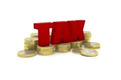 3D rendono l'illustrazione di parecchie pile di una euro moneta con la parola TASSA Fotografia Stock