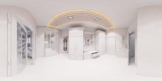 3d rendono l'interior design del corridoio nello stile classico Fotografie Stock Libere da Diritti