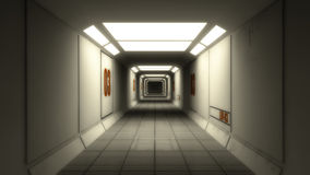 3D rendono l'interiore Corridoio futuristico Fotografie Stock