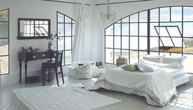 3D rendono l'interno della camera da letto spaziosa Fotografia Stock