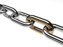 3d rendono la catena dell'acciaio inossidabile isolata su bianco Immagini Stock Libere da Diritti