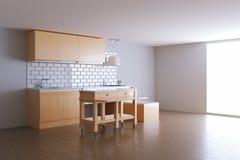 3d rendono la cucina beige nella stanza bianca Fotografia Stock