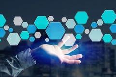 3d rendono la domanda vuota fatta del bottone hexa blu visualizzato sopra Fotografia Stock Libera da Diritti