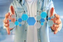 3d rendono la domanda vuota fatta del bottone hexa blu visualizzato sopra Fotografie Stock Libere da Diritti