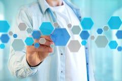 3d rendono la domanda vuota fatta del bottone hexa blu visualizzato sopra Immagini Stock Libere da Diritti