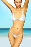 3d rendono la ragazza sexy che prende il sole sulla spiaggia illustrazione vettoriale