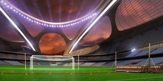 3d rendono la sera emptry dello stadio di ciao-tecnologia senza gente saltano la pista Fotografia Stock