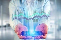 3d rendono la visualizzazione delle informazioni di dati di commercio di borsa valori sulla a Fotografia Stock