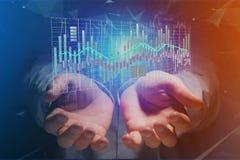 3d rendono la visualizzazione delle informazioni di dati di commercio di borsa valori sulla a Fotografie Stock Libere da Diritti
