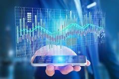 3d rendono la visualizzazione delle informazioni di dati di commercio di borsa valori sulla a Immagini Stock Libere da Diritti