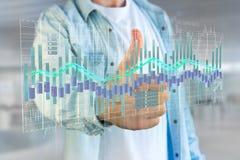 3d rendono la visualizzazione delle informazioni di dati di commercio di borsa valori sulla a Fotografie Stock