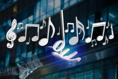 3d rendono le note di musica su un'interfaccia futuristica Fotografie Stock