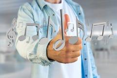 3d rendono le note di musica su un'interfaccia futuristica Immagine Stock Libera da Diritti