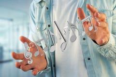 3d rendono le note di musica su un'interfaccia futuristica Immagini Stock