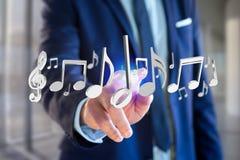 3d rendono le note di musica su un'interfaccia futuristica Fotografia Stock