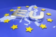 3d rendono - metal il testo dell'Eu e la mappa di Europa Fotografie Stock