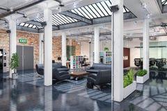 3d rendono - ufficio open space - l'edificio per uffici Immagine Stock Libera da Diritti