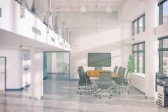 3d rendono - ufficio open space - l'edificio per uffici Immagini Stock Libere da Diritti