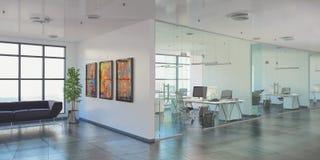 3d rendono - ufficio open space - l'edificio per uffici Fotografie Stock