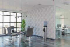 3d rendono - ufficio open space - l'edificio per uffici Fotografie Stock Libere da Diritti