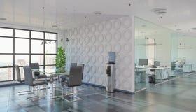 3d rendono - ufficio open space - l'edificio per uffici Fotografia Stock Libera da Diritti