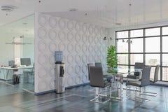 3d rendono - ufficio open space - l'edificio per uffici Fotografia Stock