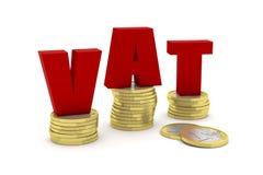 3D rendono un'illustrazione di tre pile di una euro moneta con la parola IVA Fotografie Stock