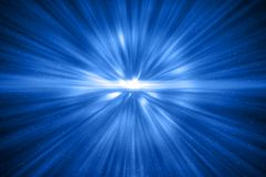 3D rendu, énergie bleue d'onde de choc cosmique abstraite d'explosion dessus Photo libre de droits