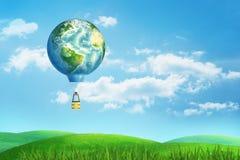 3d rendu de ballon à air chaud avec un globe de la terre au lieu du ballon à air lui-même, vol au-dessus d'un champ vert d'été illustration libre de droits