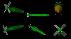 3D rendu de différentes vues de jet d'air massif d'artillerie - MOAB - bombe Photo libre de droits