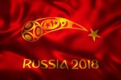 3D rendu de drapeau pour le papier peint du football 2018 du monde - le football du monde en Russie Photo stock