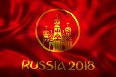 3D rendu de drapeau pour le papier peint du football 2018 du monde - le football du monde en Russie Image stock